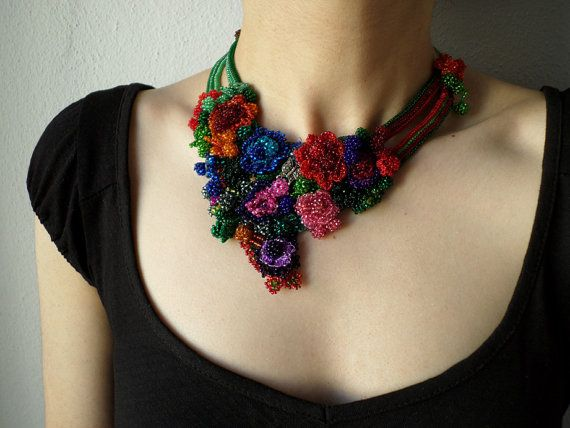 colorful freeform crochet bib necklace   by irregularexpressions