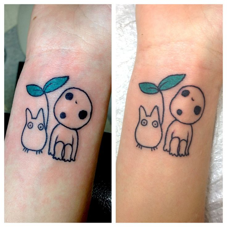 Totoro and princess mononoke themed tattoo by kim graziano   i love the little totoro! Want to put something else under leaf umbrella