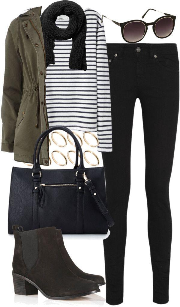 Inverno - blusa listrada p&b + calça preta + parka verde militar + bota