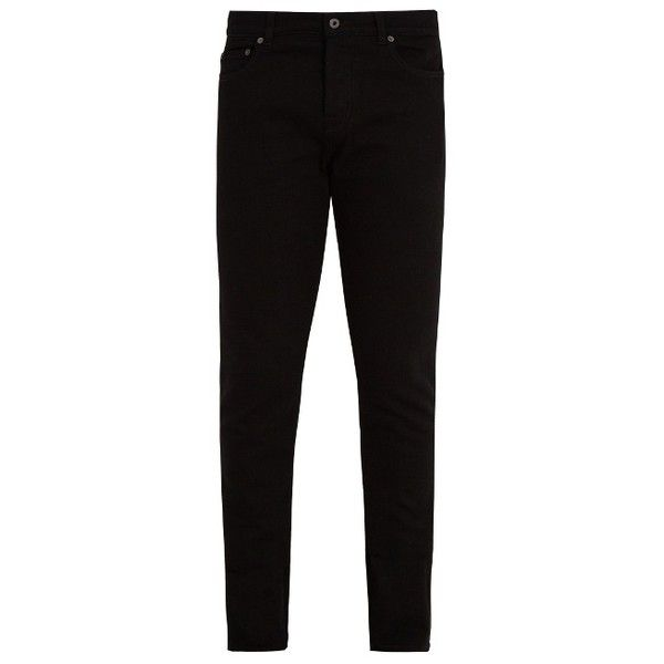 Valentino Skinny stretch-cotton twill chino trousers ($435) ❤ liked on Polyvore featuring men's fashion, men's clothing, men's pants, men's casual pants, black, mens chinos pants, mens twill pants, mens skinny fit dress pants, mens skinny chino pants and mens chino pants