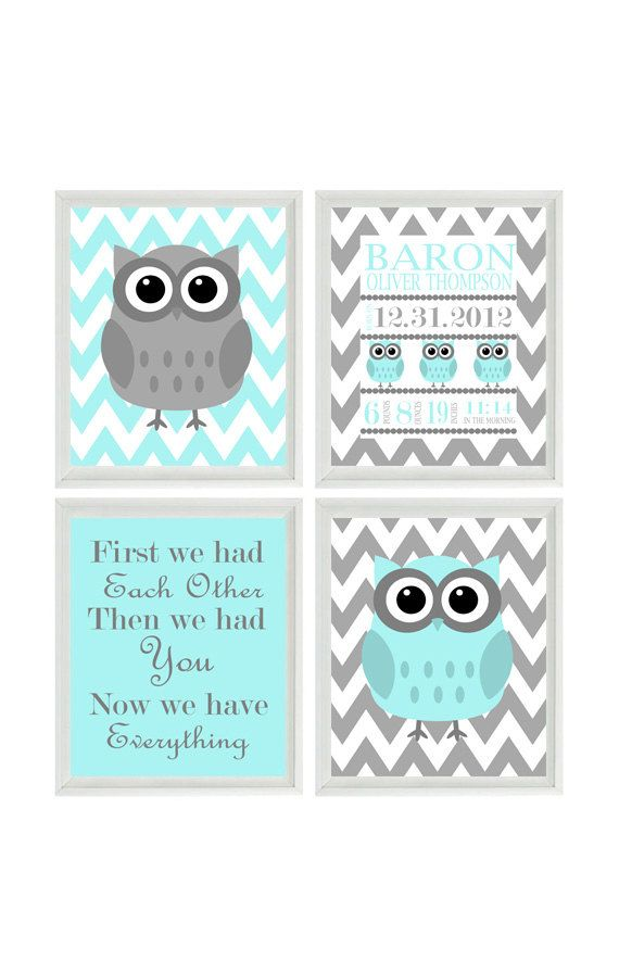 Nursery Art Owl Print Birth Stats - First We Had You Quote - Owls Gray Aqua - Chevron - Baby Boy Room - Custom Wall Art - Set Of 4 8x10 -