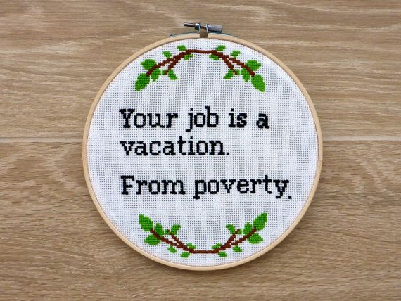 Funny Quote Black Humor Cross Stitch Finished. by CrossStitchHouse