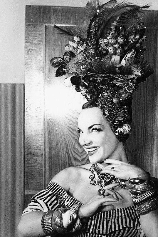 Carmen Miranda poses in her dressing room. Via http://hollywoodlady.tumblr.com/