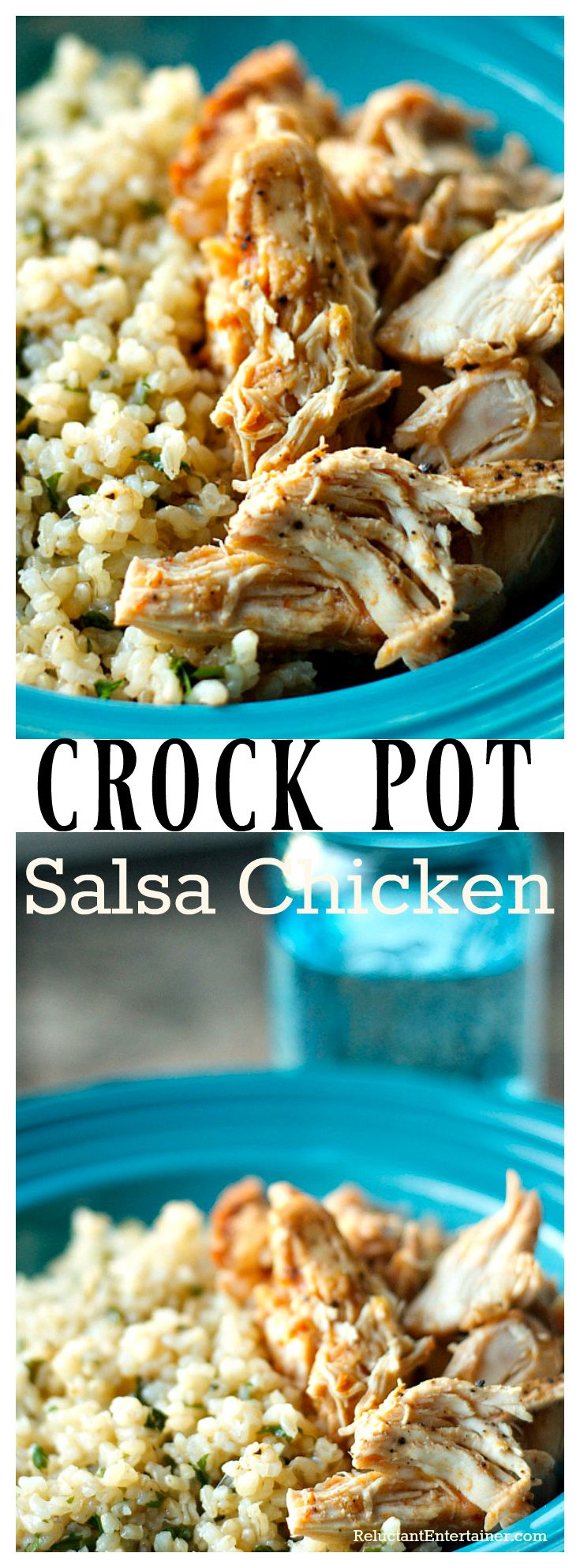 Crock Pot Salsa Chicken on Brown Rice or for Mexican food - tacos, enchiladas, tostadas.