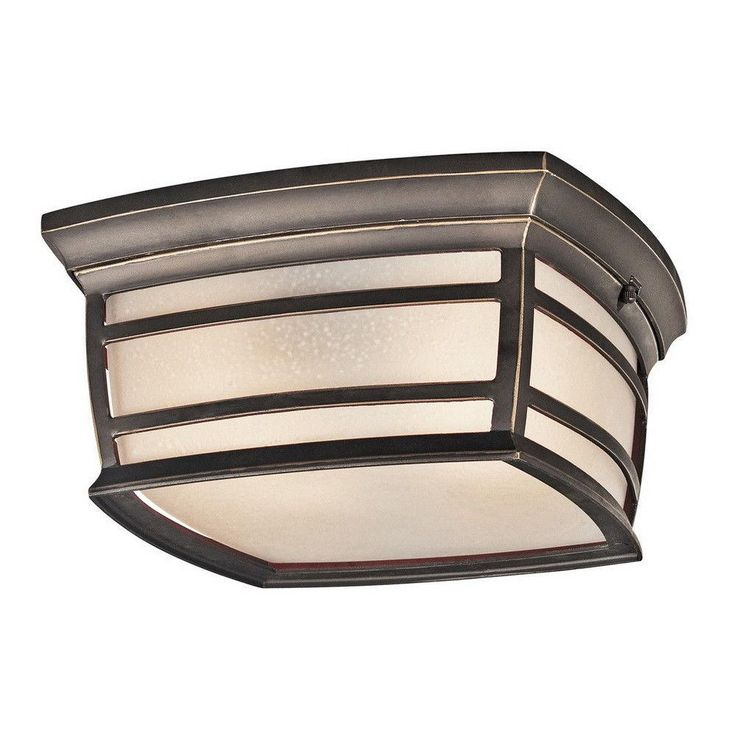 Kichler Lighting 49277 RZFL McAdams Collection Two Light Energy Saving Exterior Outdoor Ceiling Mount in Rubbed Bronze Finish