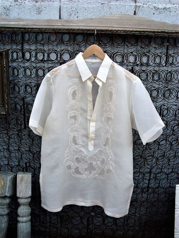 Barong Filipino EN Men's Formal Shirt White Sheer Embroidered Size L #ENBarongFilipino..$22.99 on ebay!
