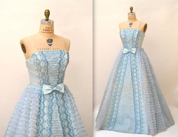 1950s Vintage Prom Dress// Crinoline 50s Party by Hookedonhoney