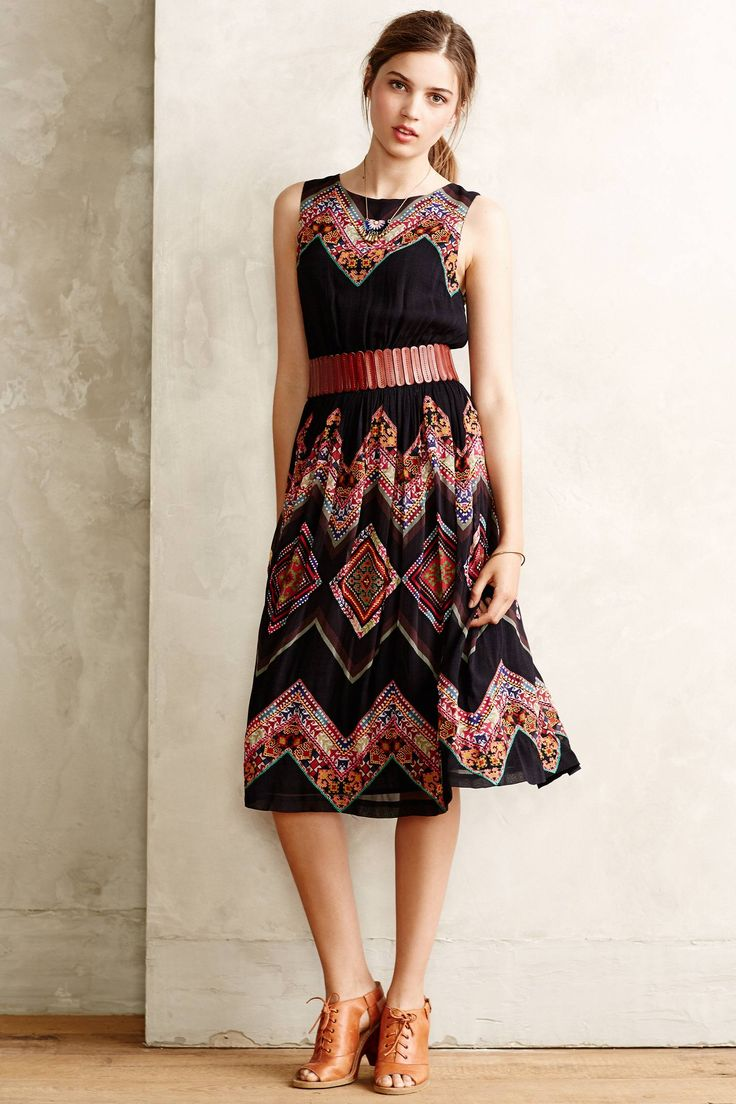 The midi length is going to be my summer go to if I can find the right ones. Love the belted midi dress here. Patchworked Chevron Midi Dress - anthropologie.com