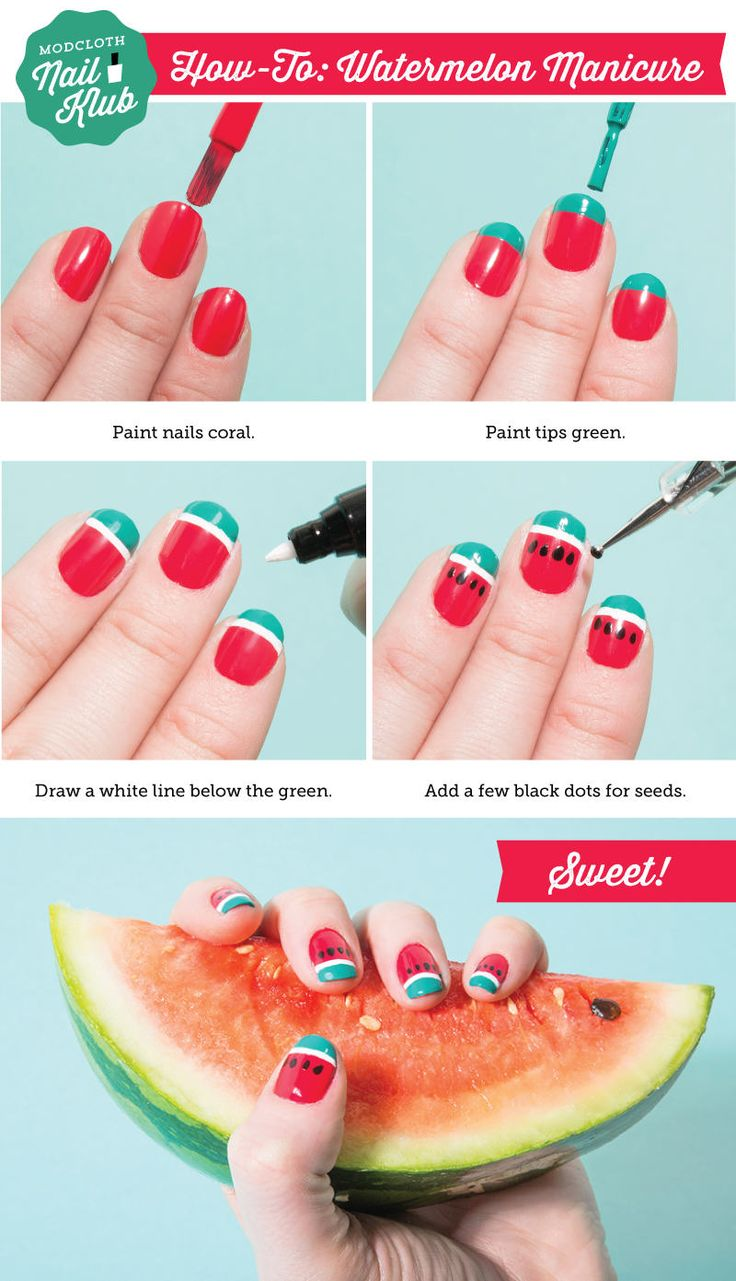 You Will Flip When You See This Watermelon Manicure Diy  Nail Art