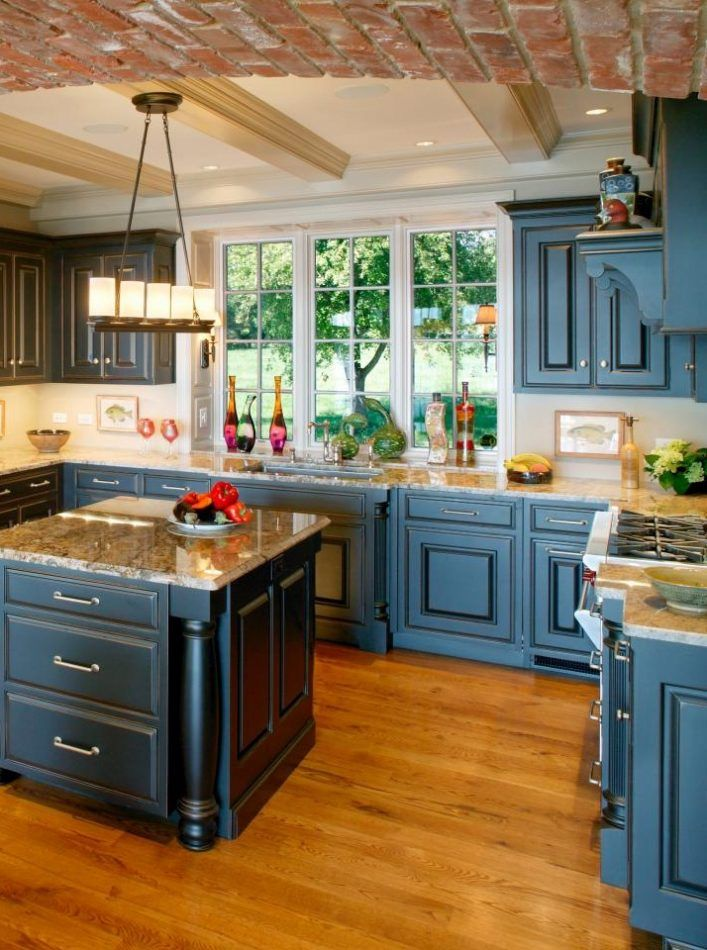 Altering The Paint Colors Of Kitchen Cabinets Could Make A Dramatic Transformation Create A Beautiful Blue Kitchen Cabinets Blue Kitchens Kitchen Wall Storage