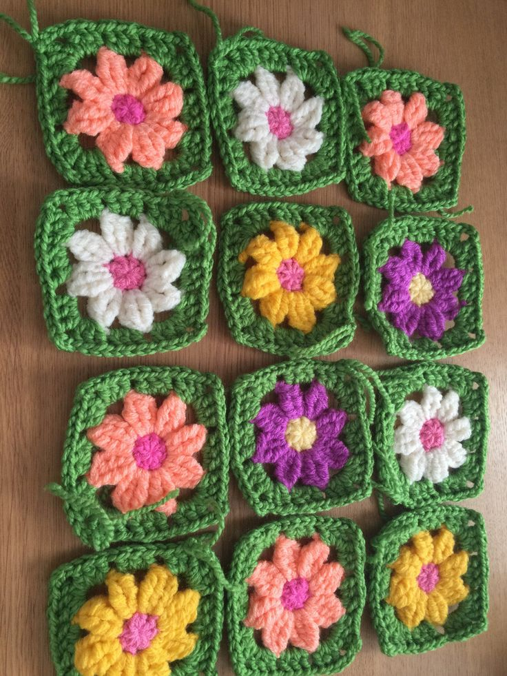 A personal favourite from my Etsy shop https://www.etsy.com/uk/listing/537110993/30-granny-squares-wool-daisy-flower