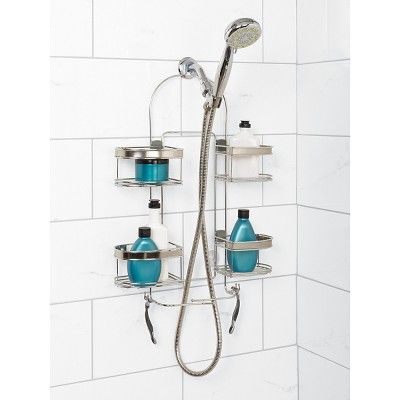 Zenna Home Expandable Rust-Resistant Large Shower Head Caddy - Chrome (Grey)