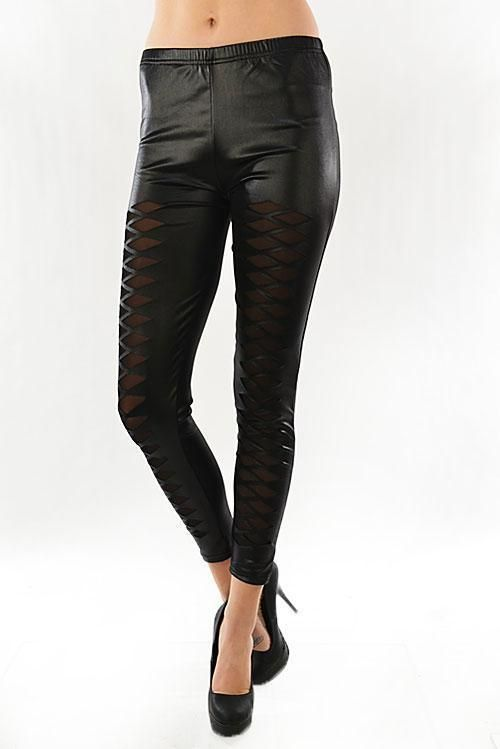 5deeb891230ff Sexy Black Wet look Mesh cut out inserts stretchy skinny fitted Leggings  Vegan #shosho #GoingOut