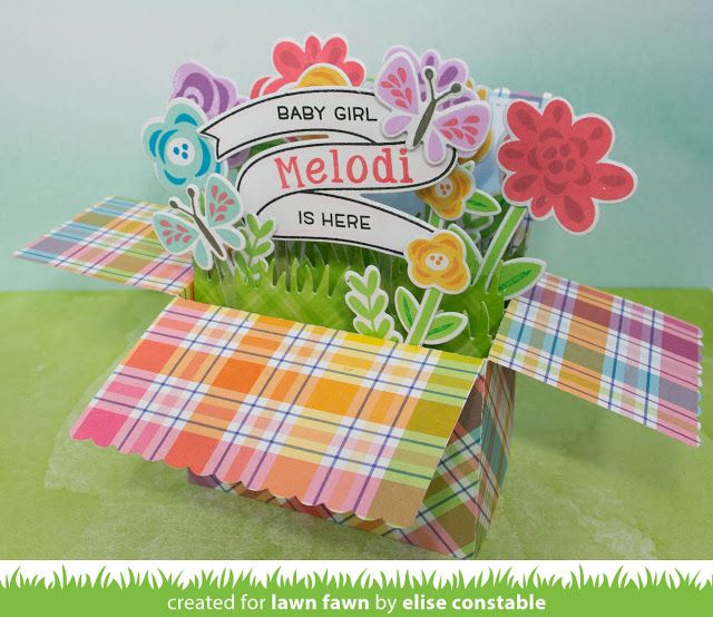 Lawn Fawn - Scalloped Box Card Pop-up, Fab Flowers, Bannertastic, Riley's ABCs, Little Bundle _ card by Elise for Lawn Fawn Design Team