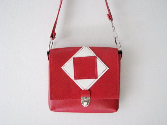 70s Red and White Pleather Purse // Vintage Square Pastille Handbag