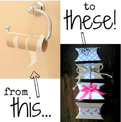 Upcycle an empty toilet paper roll --> a gift box! @Leann T T Barker don't throw those toilet paper rolls away!!! LOL!
