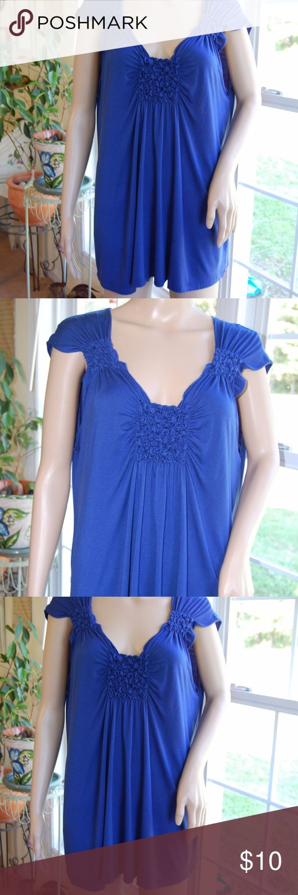 """Lush Royal Blue Smocked  Top Bust = 42"""" Length = 28"""" - No size tag, but bust measurement suggests it is an L or XL. Lush Tops"""
