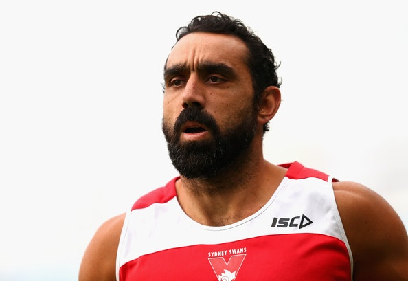 Adam Goodes of the Swans looks on during a Sydney Swans AFL training session at Sydney Cricket Ground on May 1, 2013 in Sydney, Australia.
