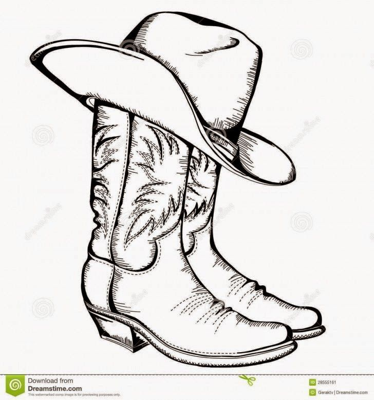 Cowboy Boots And Cowboy Hat Drawing Hd Shoe Clip Art