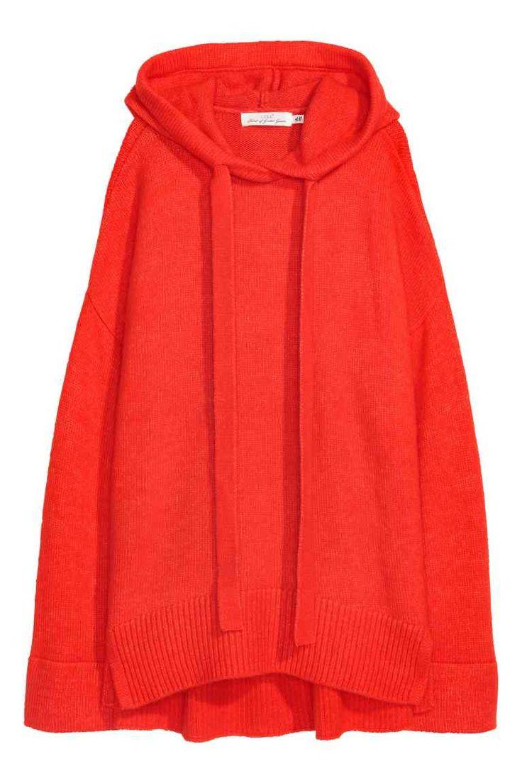 Jersey de punto con capucha - Rojo vivo - MUJER | H&M ES