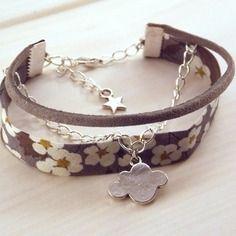 Bracelet argenté liberty multirangs - gris mauve beige - par Créa Sica