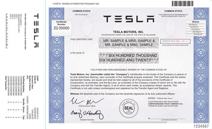 TESLA MOTORS, INC Stock certificates Scripophily \/ FAMOUS NAMES - example of share certificate