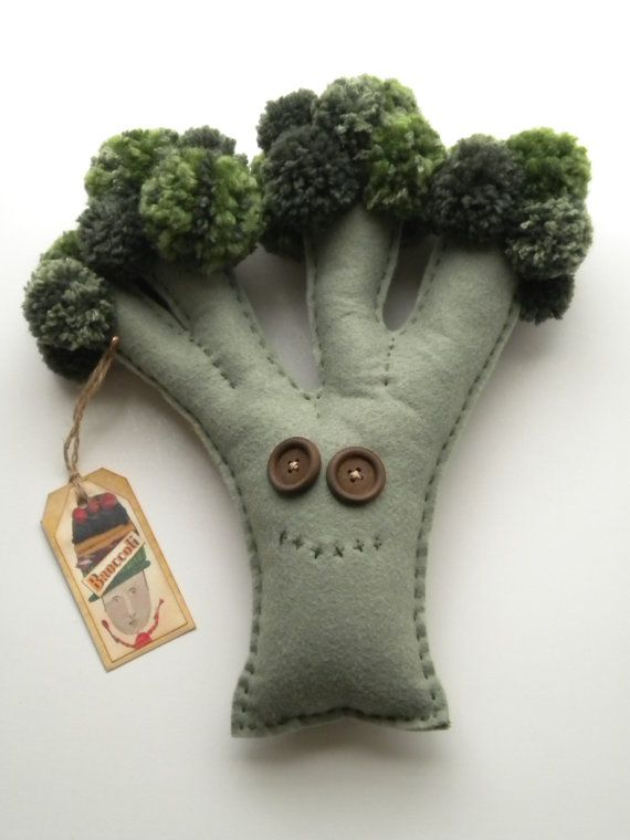 BROCCOLI - Soft Sculpture - Art Doll -  Collectibles - Plush - Green - Whimsical Vegetable - Quirky Quinn