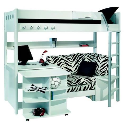 bunk beds with desk and couch | Stompa Combi 1 Bunk Bed with Sofa Bed Desk and Bookshelf – Next Day ...