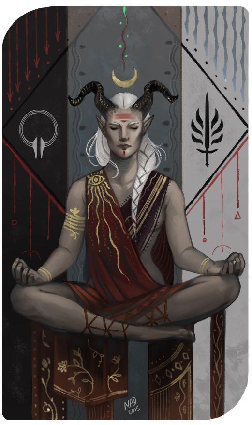 madnessdemon:  Anahita Adaar, qunari inquisitor for madameinquisitor. Thank you! Qunari card *_*  Impressive <3