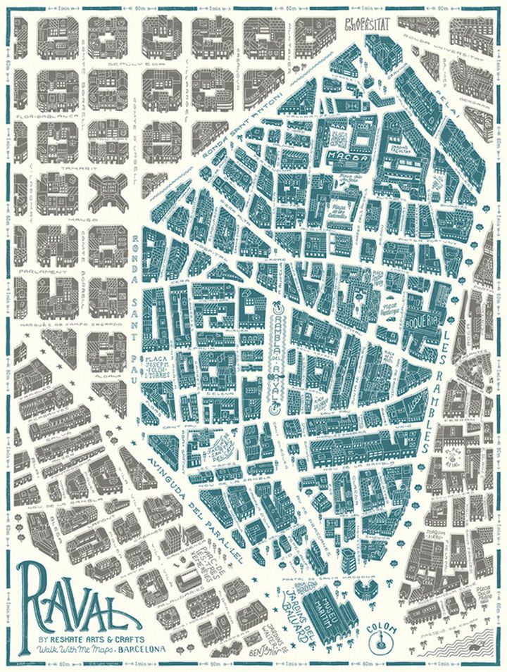 Map of Barri Raval, Barcelona byReskate Studio for Walk With Me #map #barcelona
