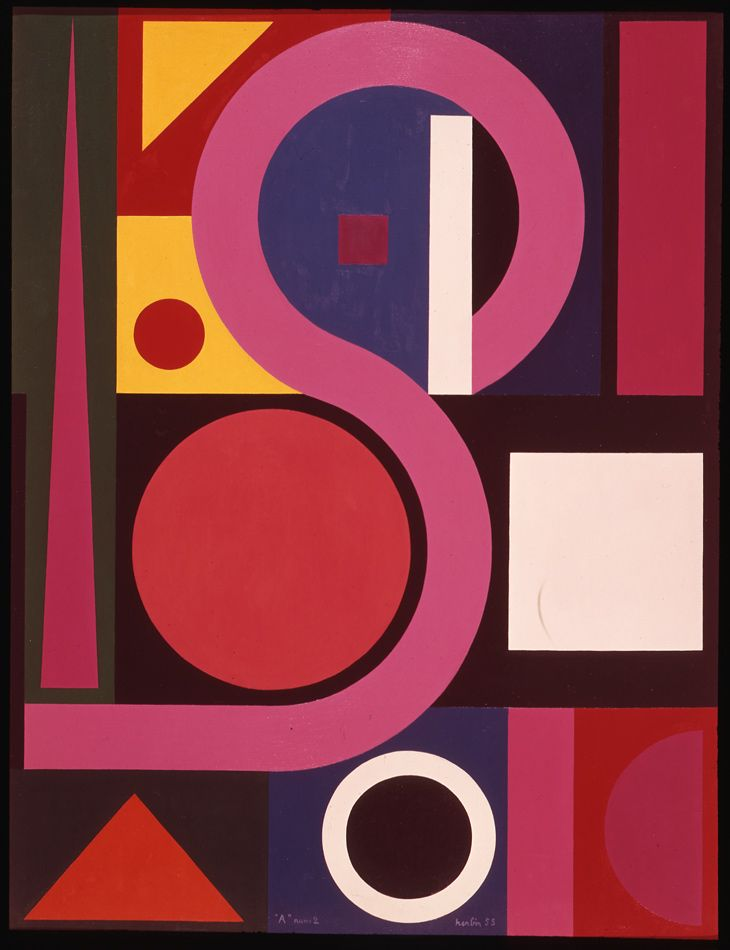 Auguste Herbin, A No 2, 1955. Oil on canvas. Size in Cm: 89 x 116.