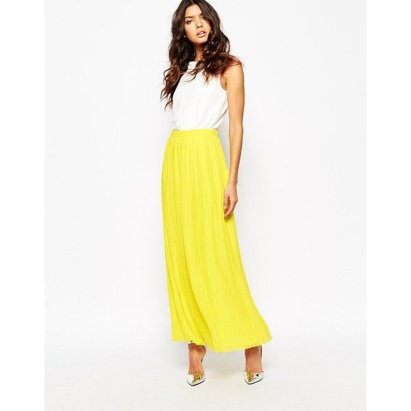 BOSS Orange Beflowy Pleated Maxi Skirt ($170) ❤ liked on Polyvore featuring skirts, yellow, yellow pleated maxi skirt, white pleated skirt, long yellow skirt, maxi skirts and white skirt