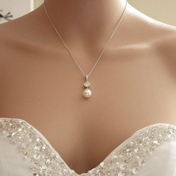 Perle Anhänger Halskette Braut Halskette von poetryjewelry auf Etsy