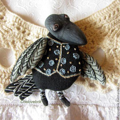 Купить Брошки-Вороны - черный, ворона, ворон, брошка, кукла-брошка, Текстильная брошка, человебрик
