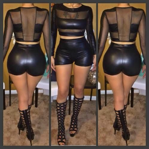 2014 new black two pieces lace mesh faux leather sheer sexy club short jumpsuits rompers bodysuits women outfit ladies LG001 $15.99