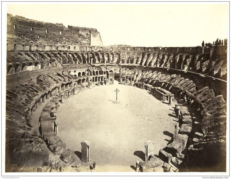 Italie, Roma, Interno Del Colosseo  Vintage Albumen Print.   Tirage Albuminé   20x25   Circa 1880 - Foto