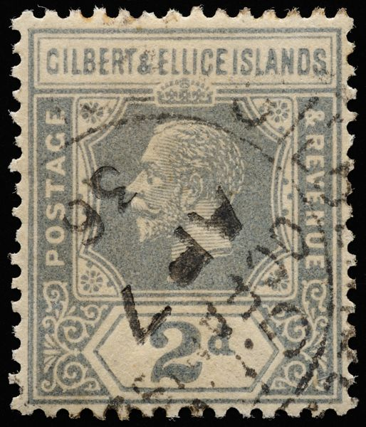 Gilbert & Ellice Islands unified keyplate King George V 2d slate-grey SG30 1922