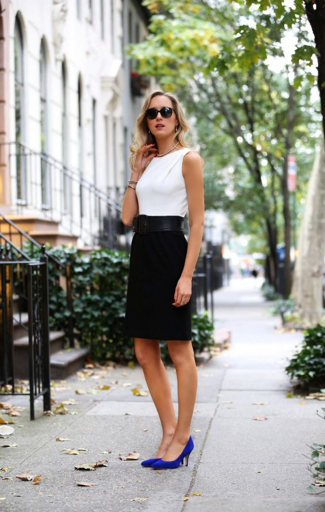 cobalt blue pumps with black and white outfit