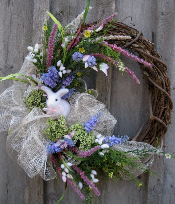 Easter Bunny Spring Woodland Meadow Wreath