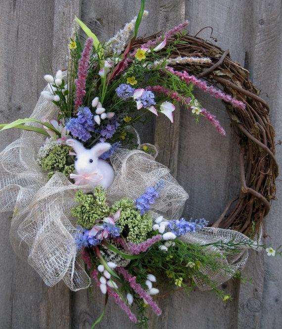 Easter Bunny Spring Woodland Meadow Wreath