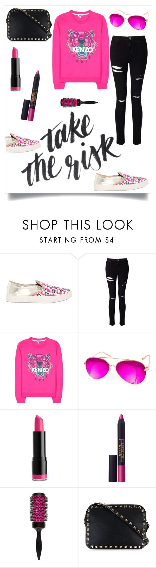 """""""...but you'll turn me away like I'm begging for a dollar"""" by thefashionmess ❤ liked on Polyvore featuring Kurt Geiger, Miss Selfridge, Kenzo, AQS by Aquaswiss, NYX, Lipstick Queen, Denman and Valentino"""