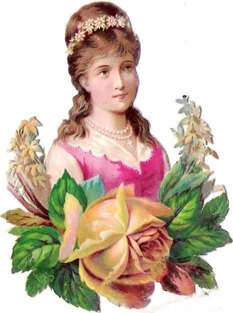 Oblaten Glanzbild scrap die cut chromo Lady Dame Portrait femme