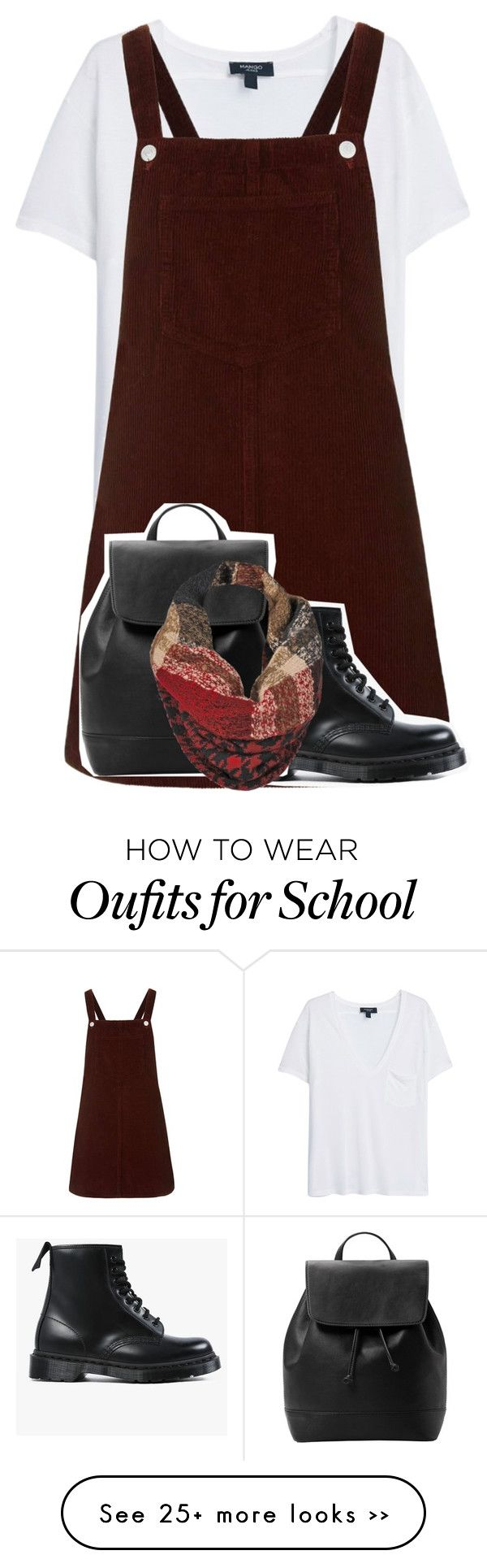 """""""Fall School Girl"""" by macbautybabe07 on Polyvore featuring MANGO, Topshop, Dr. Martens and Black Rivet"""