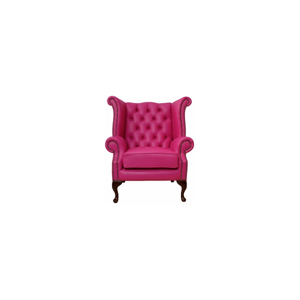 Chesterfield Queen Anne High Back Wing Chair Vele Fuchsia Pink, Leather Sofas, Traditional Sofas ($660) found on Polyvore
