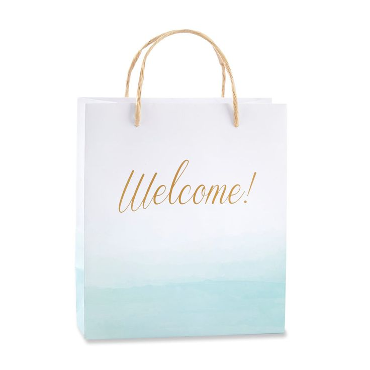 Perfect for wedding welcome packages or presenting guest favors at your beach-themed wedding event, Kate Aspen's Beach Tides Welcome Bags make a big statement with a serene feel.
