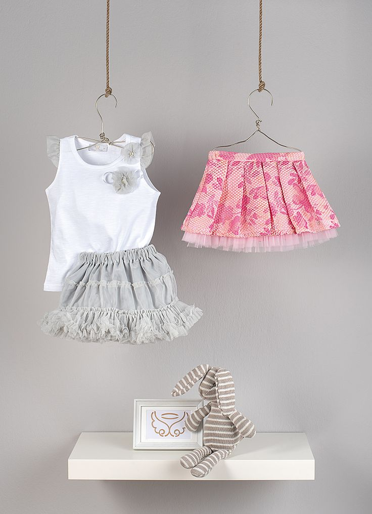 tank top from cotton jersey with tulle ruffles sleeve and matching decorative flowers  Tutu skirt in  gray tulle and elastic waistband  Pleaded Skirt from silk fabric in pink tones and tulle
