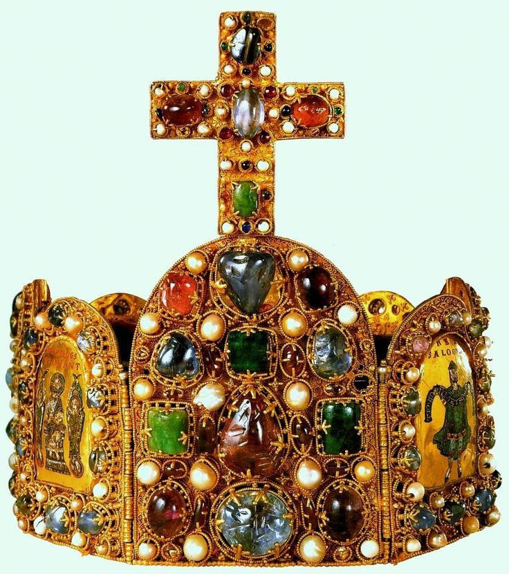 Imperial Crown of the Holy Roman Empire. The Imperial Crown 2nd half of the 10th century The cross is an addition from the early 11th century; the arch dates from the reign of Emperor Conrad II (ruled 1024-1039); the red velvet cap is from the 18th century. Gold, cloisonné enamel, precious stones, pearls Brow plate