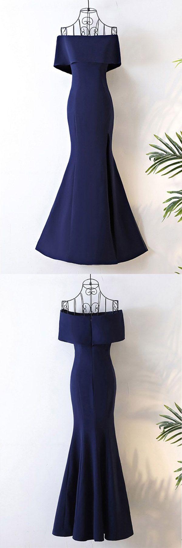Long Navy Blue Satin Mermaid Forma/Prom Dress Off The Shoulder PG613 #navyblue #mermaid #dress #promdress #promgown #eveninggown #eveningdress #pgmdress #satin #newstyle