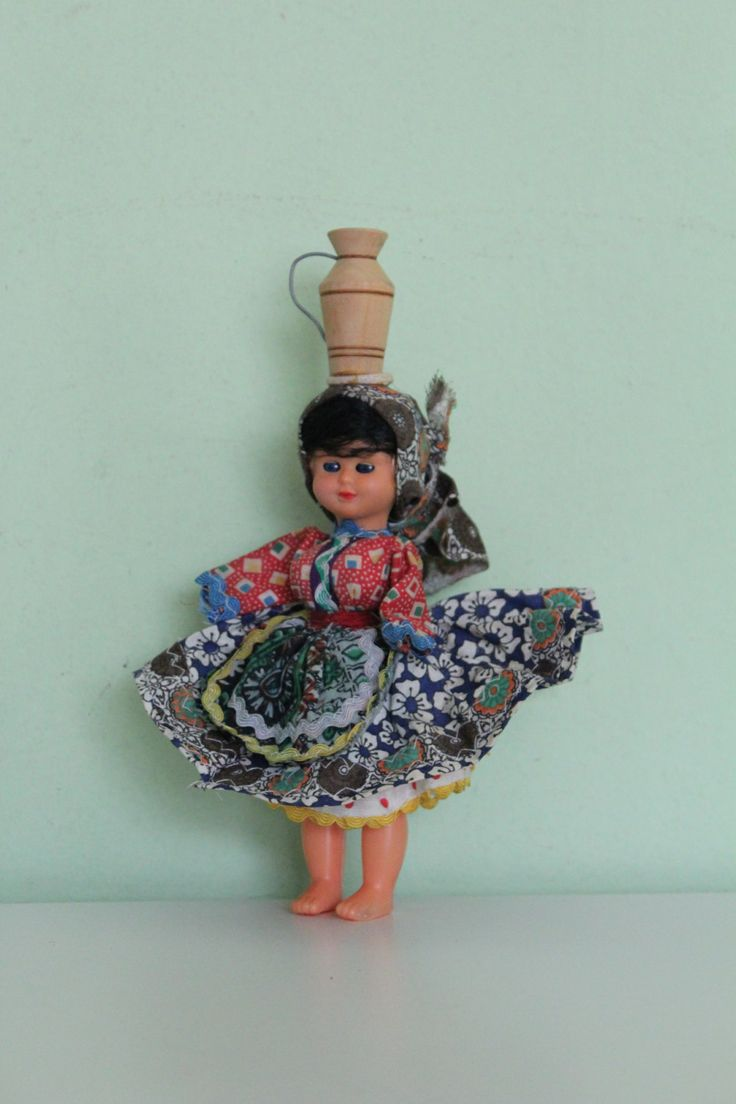Vintage Portugal Doll, Pitcher on Head Doll, Ethnic Doll, National Doll…