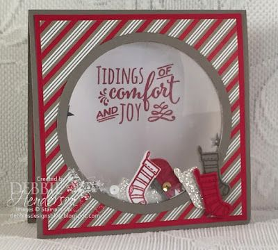 Stampin' Up! Santa's Sleigh, Christmas Pines and Candy Cane Lane DSP for a Shaker Card Video. Debbie Henderson, Debbie's Designs.